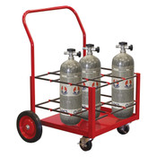 Nine SCBA Rolling Storage Rack Cart